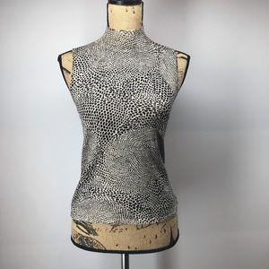 Silk Blend Cheetah Print Turtleneck Tank